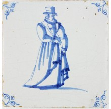 Antique Dutch Delft tile in blue with a well dressed man, 17th century