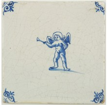 Antique Delft tile in blue with Cupid holding a trumpet, 17th century