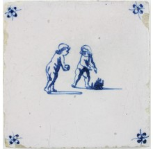 Antique Dutch Delft tile depicting Putti bowling, 17th century