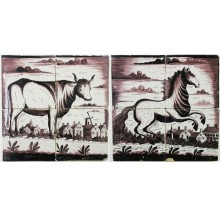 Two Antique Dutch tile murals with horse and cow, 19th century