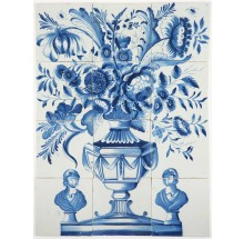 Antique Delft tile mural with a beautiful flower vase in blue with a bust on each side, 18th century