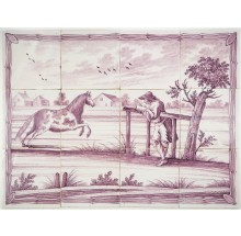 Antique Delft tile mural with a farmer watching his horse running, 18th century