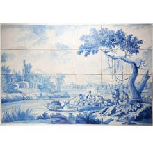 Dutch delft tiles tile murals regts antique tiles for Delft tile mural