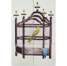 Antique Dutch Delft tile mural with a bird cage and a yellow canary, 19th century