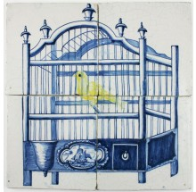 Antique Dutch Delft tile mural with a bird cage and a yellow canary, 18th century