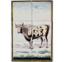 Antique Dutch Delft polychrome tile mural with a bull, 19th century
