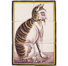 Antique Delft tile mural with a cat holding a cat between its jaws, 19th century