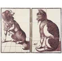 Pair of antique Delft tile murals with a cat and a dog in manganese, 18th century Rotterdam
