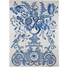 Antique Delft tile mural with a richly decorated flower vase in blue, 18th century