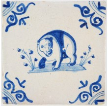 Antique Delft tile with a bear in blue, 17th century