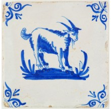 Antique Delft tile with a beautiful goat in blue, 17th century