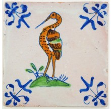Antique Delft tile with a beautiful polychrome stork, 17th century