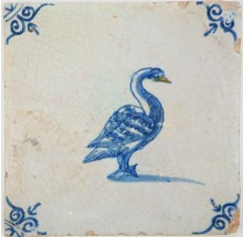 Antique Delft tile with lovely swan with an orange beak, 17th century
