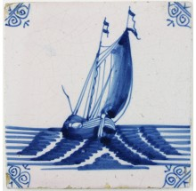 Antique Dutch Delft tile with a boat under sail, 17th century