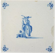 Antique Delft tile depicting a Chinese person, 17th century