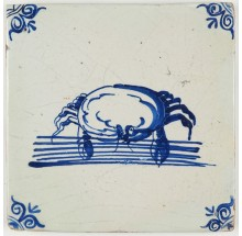 Antique Delft tile with a beautiful crab in blue, 17th century