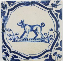 Antique Delft tile in blue with a dog wearing a collar, original 17th century