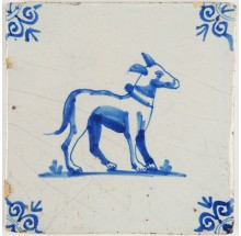 Antique Delft tile with a lovely dog in blue, 17th century