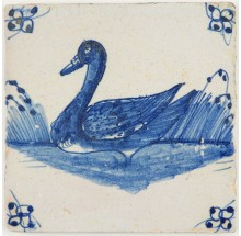 Antique Dutch Delft tile with a beautiful duck in blue, 18th century