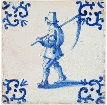 Antique Delft tile a farmer carrying a sickle on his shoulder, 17th century