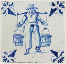 Antique Dutch Delft tile in blue depicting a farmer with a yoke, 17th century