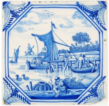 Antique Delft tile with a very fine painted harbor scene in blue, 18th century