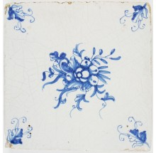 Antique Delft tile with a beautiful bouqet, early 17th century