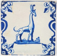 Antique Dutch Delft tile with a giraffe in blue, 17th century
