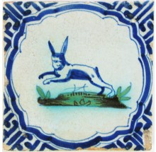 Dutch Delft tile with a hare on a green ground