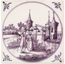 Antique Delft tile with a couple walking in a fine painted Dutch landscape scene, 18th century