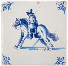 Antique Delft tile with a horserider and his horse empyting the bladder, 17th century