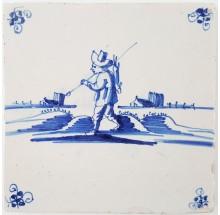 Antique Dutch Delft tile with a hunter carrying a shot hare on his shoulder, 17th century