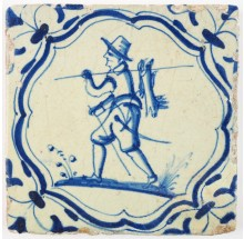 Antique Dutch Delft tile with a hunter carrying hunted rabbits, 17th century