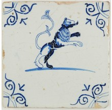 Antique Dutch Delft tile with a beautiful lion standing on his back legs, 17th century