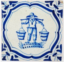 Antique Delft tile depicting a man carrying a joke with two buckets on his shoulders, 17th century