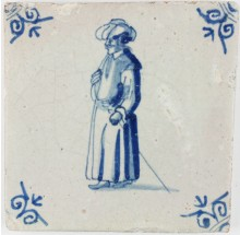 Antique Dutch Delft tile with a man in Oriental clothing, c. 1650