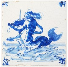 Antique Delft tile in blue with a merman playing the violin, 17th century Harlingen