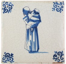 Antique Delft tile in blue with a monk drinking wine from a jug, 17th century