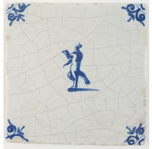 Antique Delft tile with a monkey walking on his front paws, 17th century
