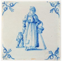 Antique Delft tile in blue with a mother and child holding hands while walking down the street, 17th century