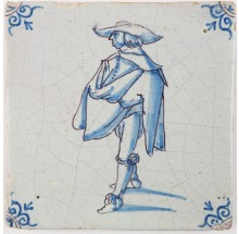 Antique Delft tile with a noble man in blue, 17th century