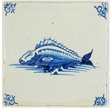 Antique Delft tile in blue with a beautiful perch, 17th century