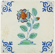 Antique Dutch Delft tile with a beautiful polychrome flower, 17th century