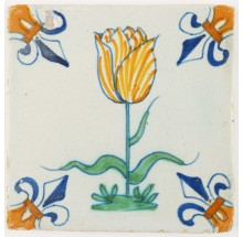 Antique Delft polychrome tile with a large tulip in yellow, 17th century