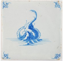 Antique Delft tile in blue with a stingray, 17th century