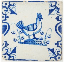 Antique Delft tile in blue with a lovely rooster, 17th century