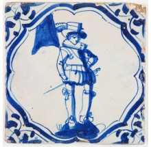 Antique Delft tile in blue with a standard-bearer, 17th century