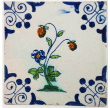 Antique Delft tile with a polychrome strawberry plant, 17th century