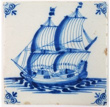 Antique Delft tile with a tall ship under sail, 17th century