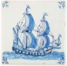 Antique Delft tile in blue with a tall ship (fluyt) under full sail, 17th century Amsterdam